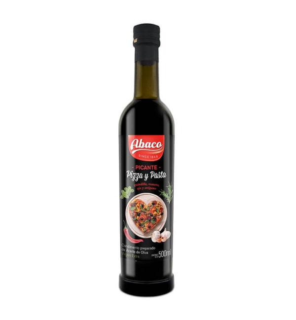Condimento de aceite de oliva virgen extra Abaco picante, pizza y pasta